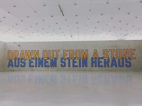 #lawrenceweiner #kunsthausbregenz #wherewithal #wasesbraucht #kub #writing #concretewall #peterzumthor #drawn #stone #naturallight #orange #blue ...