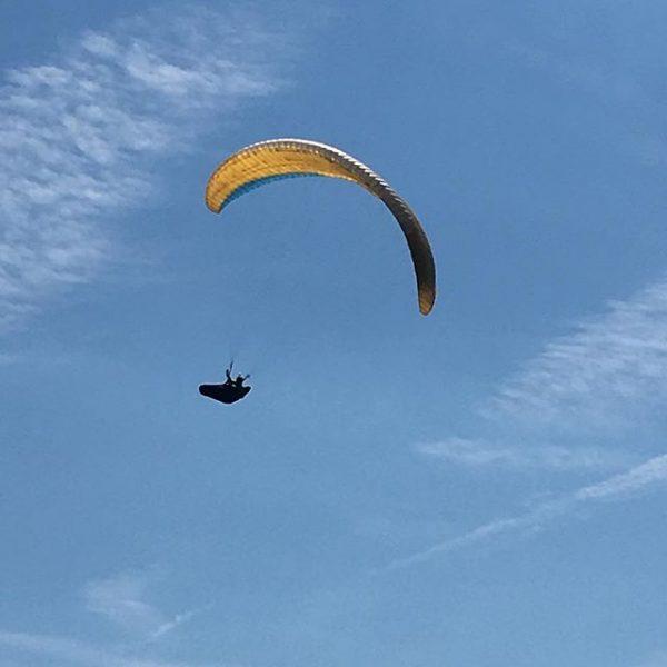 After taking his pic he gave me a wave! #paragliding #parasailing #blueskies #mountains #Alps #vorarlberg #austria Dünserberg