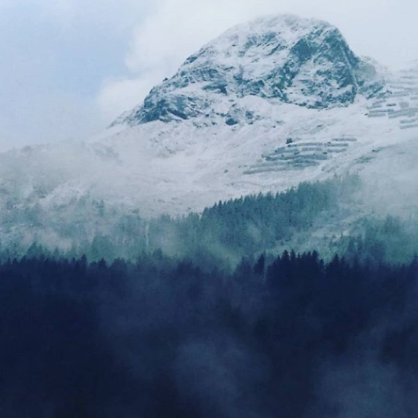 Snowing Dalaas, Vorarlberg, Austria