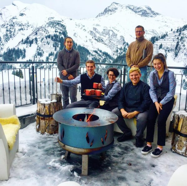 """Our amazing Austrian led team take a break on our new ski-in """"Hot ..."""