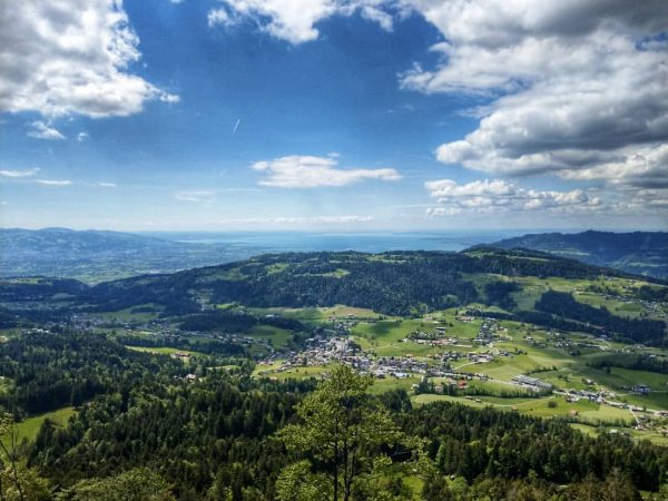 Currently hiking on the Maximiliansweg. Best view of the day, back towards Lindau, ...