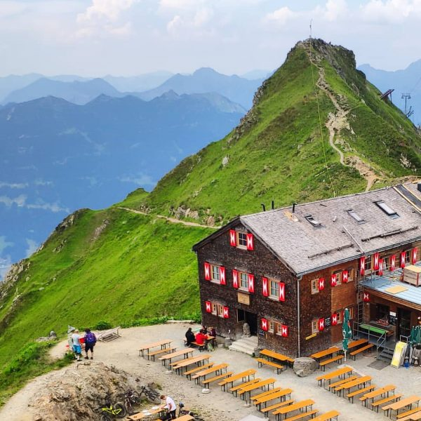 Finally, we look down at our overnight location for one night. #meinmontafon #vorarlberg ...