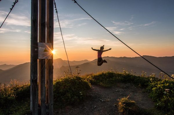 Sunset Jump 🌅😍✌️ . . . . . #sunset #hiking #austria #vorarlberg #mountains ...
