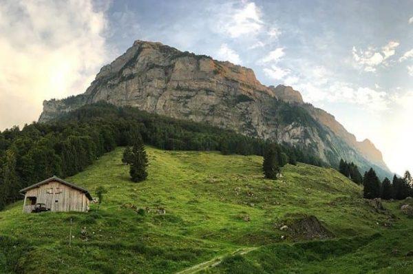 Little hut with the massive Kanisfluh in the backyard 📸 by @steinesucher #visitbregenzerwald ...