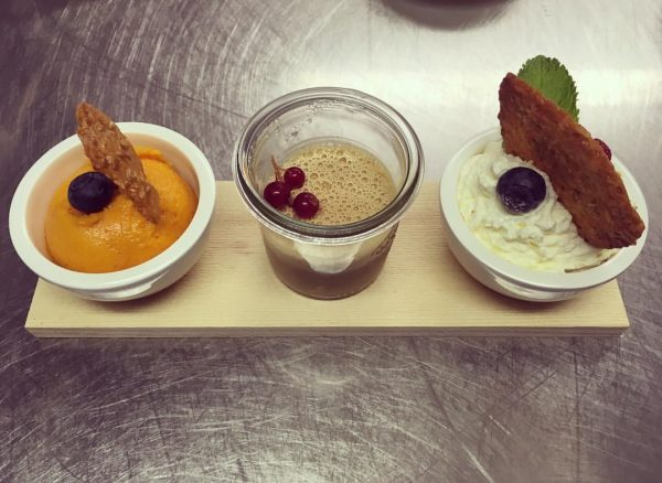 Did some finnish desserts - sea buckthorn sorbet, liqourice pannacotta and finnish apple ...
