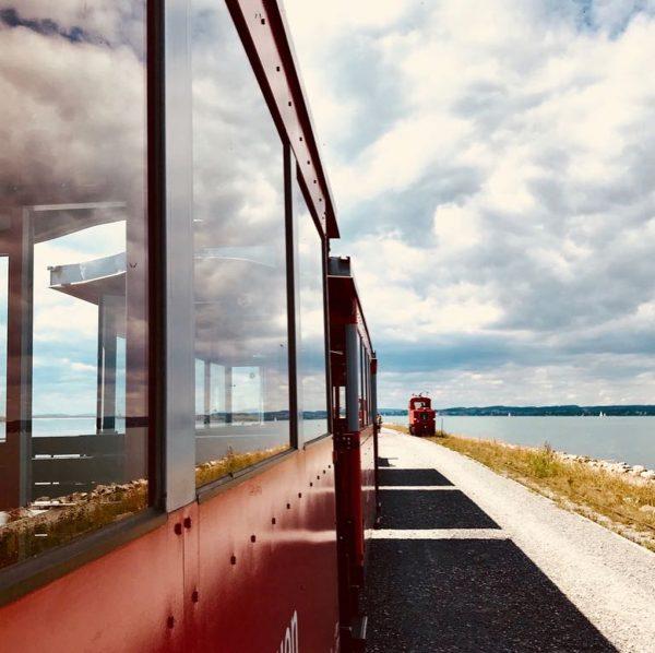 In the #rheinbähnle here at the #rheindamm...the historical train is already 126 years ...