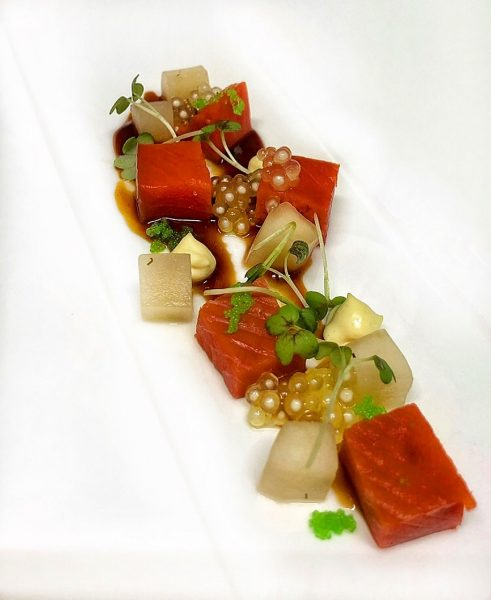 Sockeye Salmon - Tapioka - pickled Cucumber- Wasabi