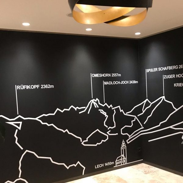 New wall on the way to the pool. Do you like it? #mountains ...