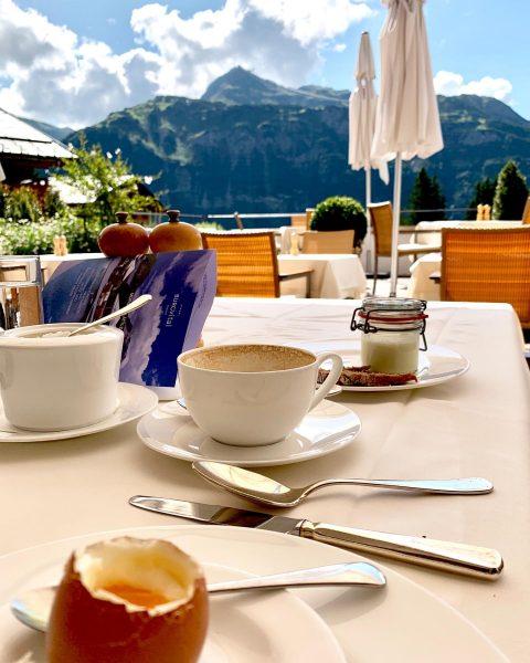 Breakfast with mountain view. . . . #burgvitalresort #oberlech #mountains #voralberg #austria #visitaustria ...