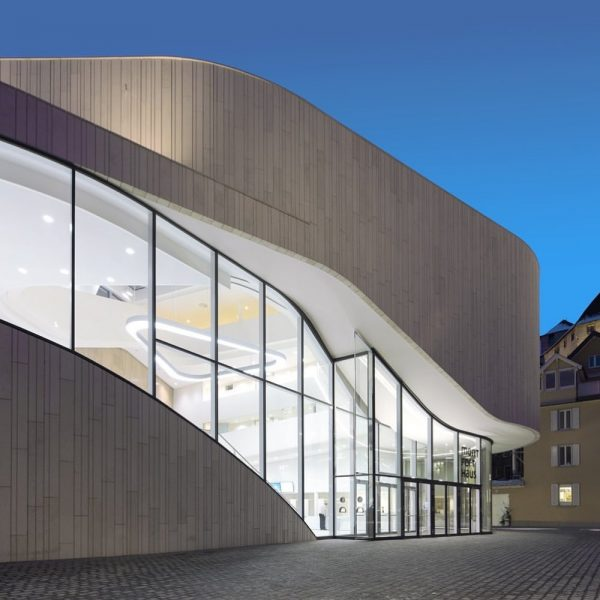 . HASCHER JEHLE Architektur_Montforthaus Feldkirch_Öffentliche Bauten . Die plastische und fließende Gebäudekontur orientiert ...