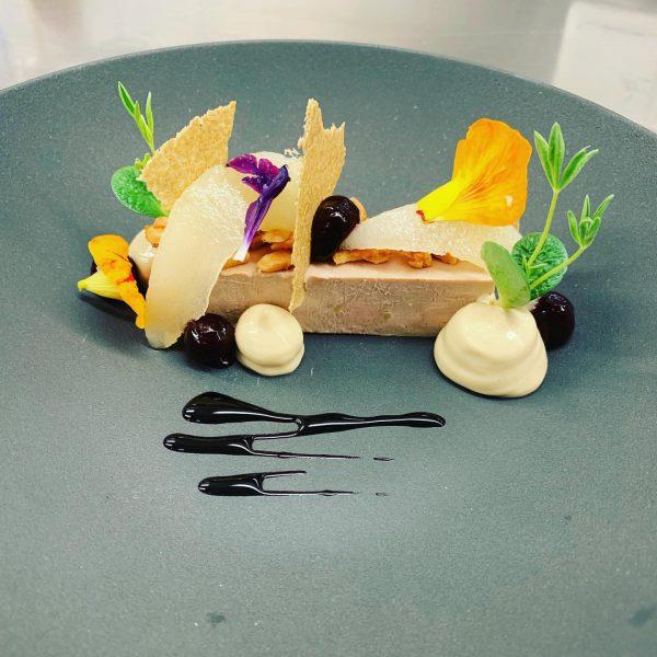 Gänseleberterrine | Williamsbirne | Cassis | Mandel 😋 - - #restaurant #artistsoninstagram #chef ...