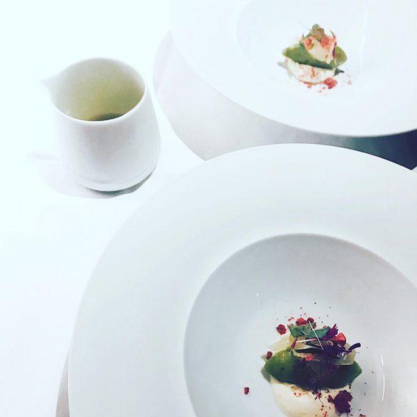 #predessert #griggelerstuba #burgvitalresort #frozen apple & oyster leaf with fennel & tarragon #dessert ...