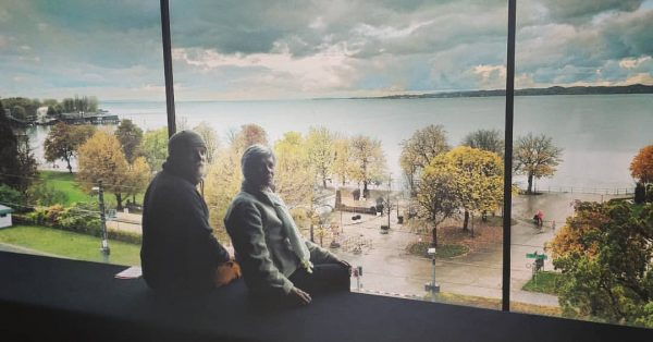 ... my grandmother and i looking over the bodensee at the Vorarlberg Museum. ...