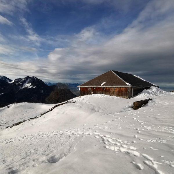 Gschwendtalpe im Schnee - Berglauf am 15.12.2019 teilweise durch Windverwehungen und außerhalb des ...