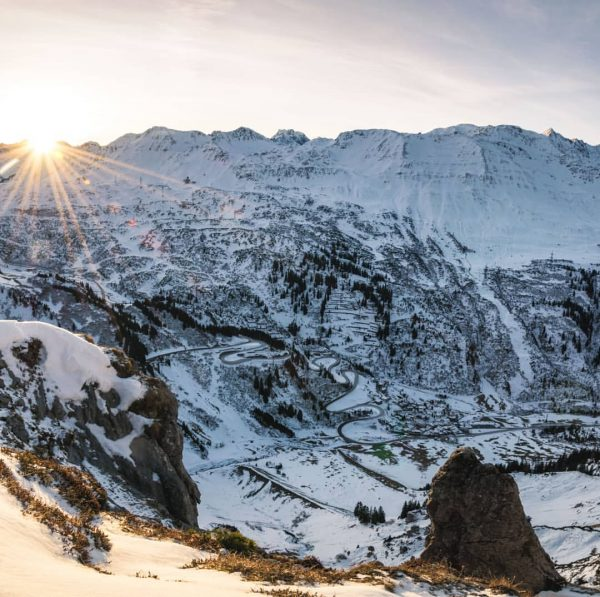 Sunrise over the Arlberg pass and Stuben - one of the best places ...