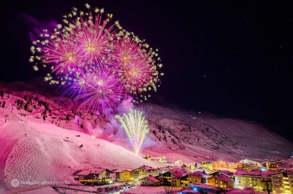 New Years Day 2020 Mountains are illuminated by phantastic fireworks accompiened by wonderful ...