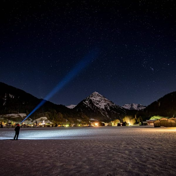 #Schopperau at night, view towards #au and #kanisfluh. In this amazing place you ...