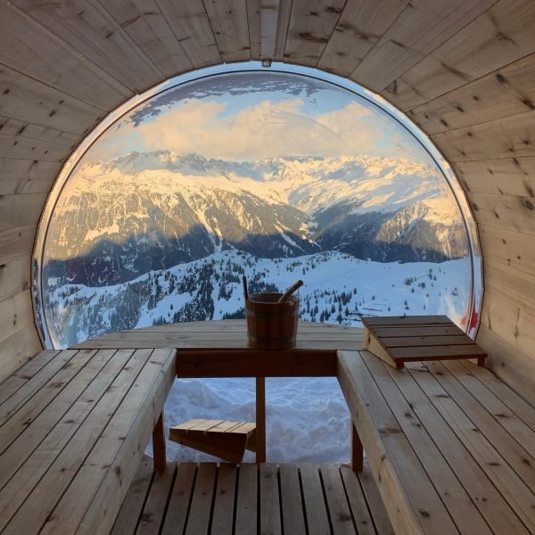 Relaxation with a view. Right on top of the mountain next to a ...
