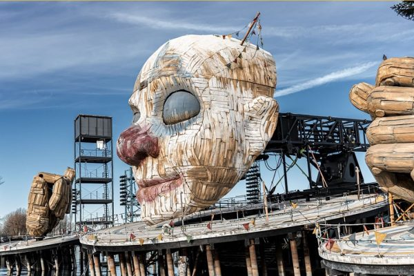 The current Bregenz Festival stage for Rigoletto. The première of Rigoletto took place ...