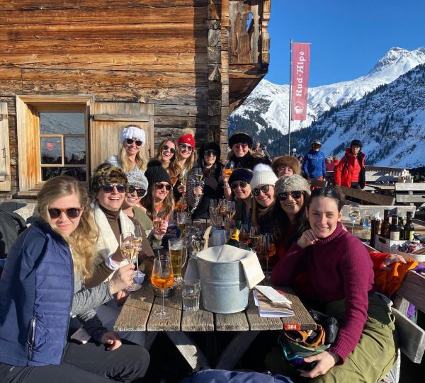 This whole sunny mountain hut deck thing isn't so bad...neither is Lech... #LadiesWhoLech. ...