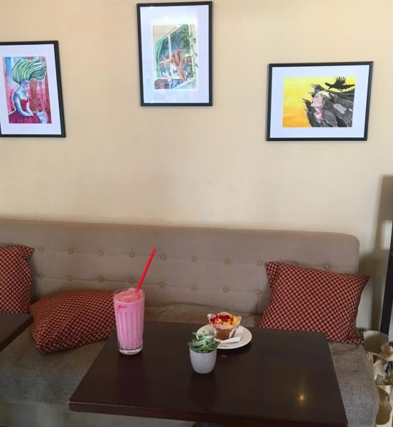 My 3 paintings are now able to see in cafesito #cafesito #bregenz #art ...