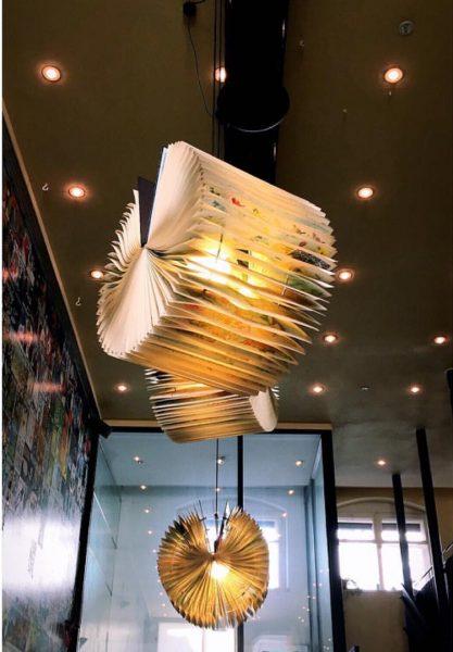 Booklamps 💡 #recycle #books #lamp #interiordesign #design #art #cafesito #cafe #bregenz #austria #fewweeksago ...