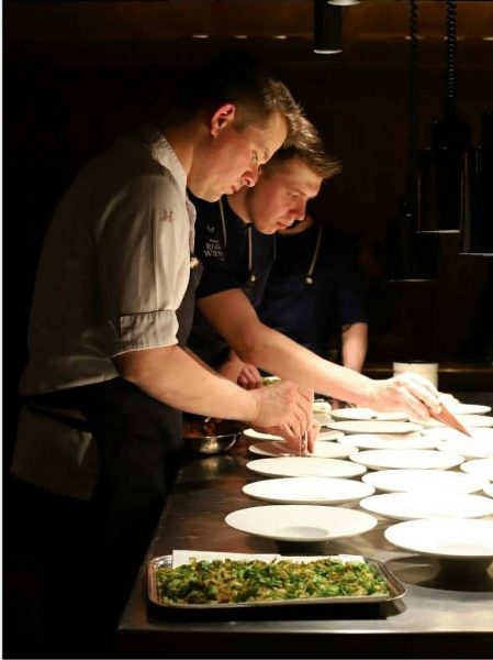 @maxnatmessnig and his team in the open chef's table kitchen. . . . ...