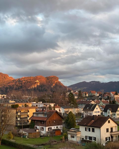 Beautiful sunset colors in Bregenz. These Orange mountain looks 👍 ❤️ have a ...