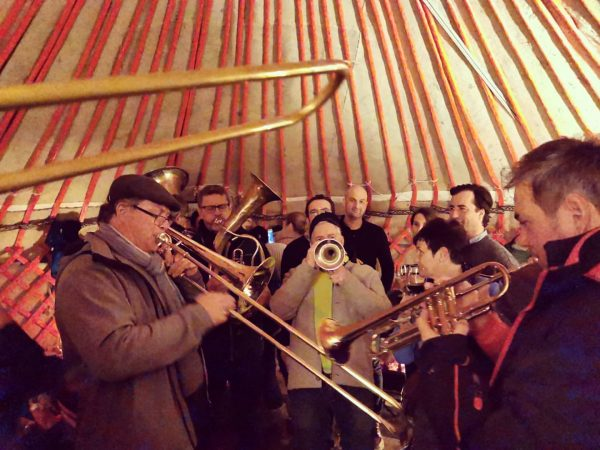 The great thing about this tent... It even fits a brass band when ...