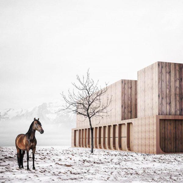 horse stable by #martemartearchitects @johannes.bawart #horsestable #architecture #timberconstruction #vorarlberg #austria Weiler, Vorarlberg, Austria