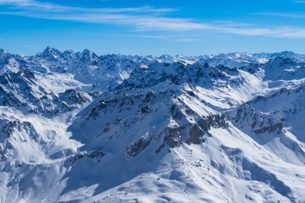 View over Switzerland from the Sulzfluh summit after a beautiful skimo day with ...