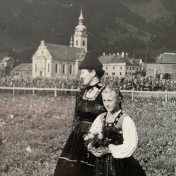 My grandmother Irma Natter and my mother picking flowers. PROJECT #tb_bregenzerwald_40ties #bezau #bregenzerwald ...