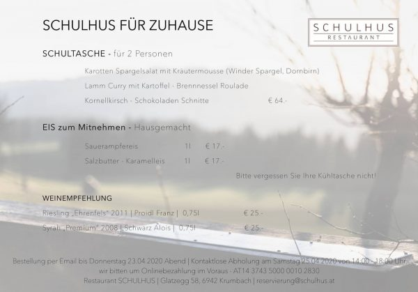 SCHULHUS FÜR ZUHAUSE #schultasche #fürzuhause #schulhus #krumbach #bregenzerwald #essen #mahlzeit #lammcurry #abholen #vorarlberg ...
