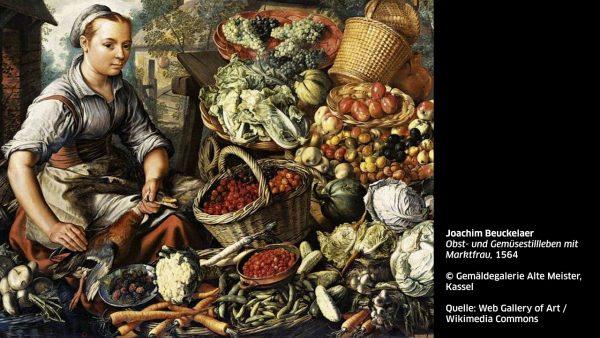 KUB Sonic Views 9: Joachim Beuckelaer, Obst- und Gemüsestillleben mit Marktfrau (1564)