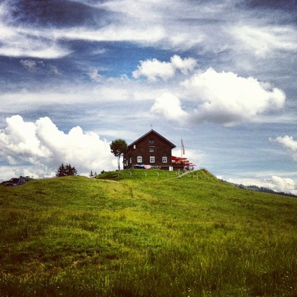 #landscape #view #sky #clouds #sun #mountains #alps #hill #house #hut #nature #natureshots #naturelovers ...