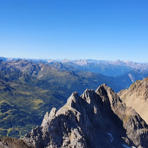 View from Valluga summit into direction of Switzerland. With this visibility one can ...