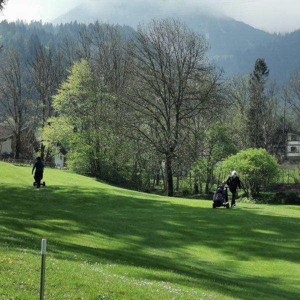 Langsam fühlt es sich wieder wie ein Golfplatz ⛳ an. Golfer 🏌️ drehen ...