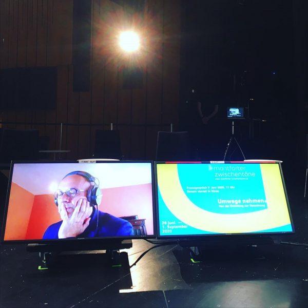 Pressekonferenz Livestream Montforter Zwischentöne. Wir stellten gerade unser Sommerprogramm vor. Im Bild mein ...