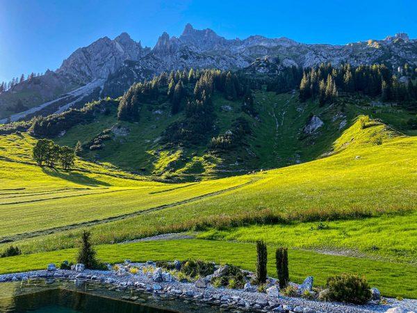 Teichwetter und Bergpanorama... eine schönere Aussicht beim Schwimmen kann man sich kaum wünschen! ...