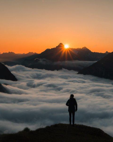 Above the clouds ⛰☀️ . . . . #kriegerhorn #lechzuers #sunrise #view #mountains ...