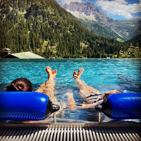 The perfect combination: A pool in the mountains #relaxing #mountains #urlaubindenbergen #kleinwalsertal #holiday ...