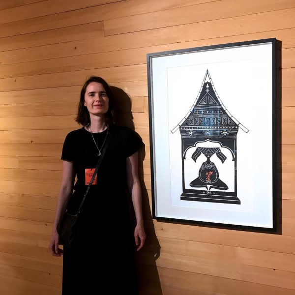 With my papercut at yesterday's opening of a wonderful exhibition about birth culture ...