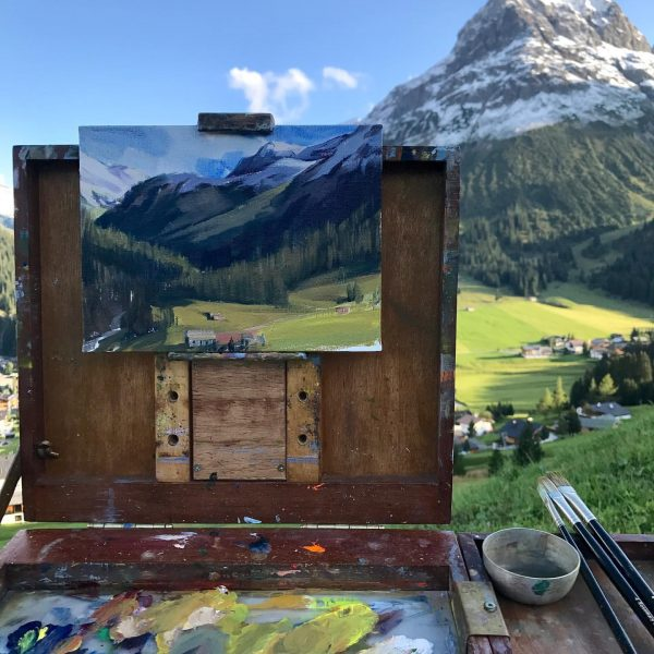 A plein air oil session in a summer day, Lech Am Arlberg. #lechamarlberg ...