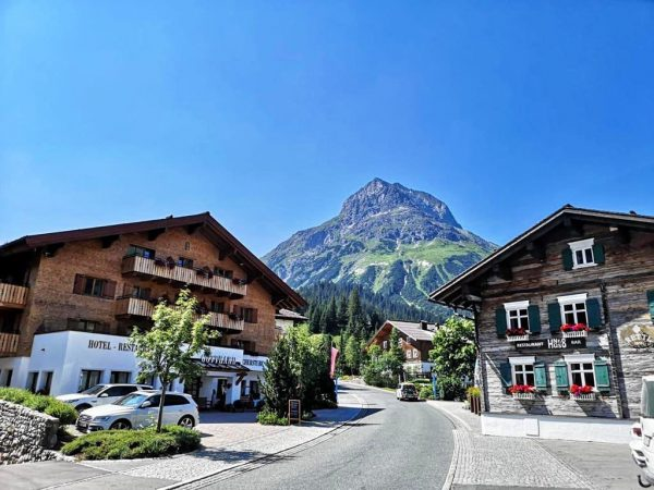 On the right is The Hus No. 8 restaurant in Lech, which is ...