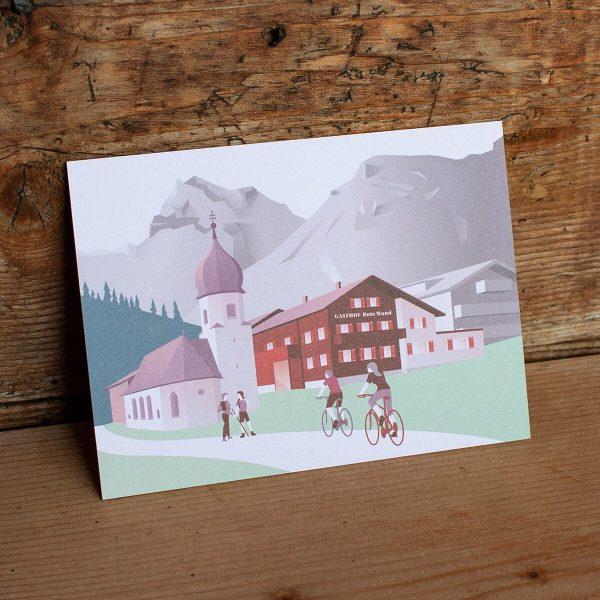 Sommerversion der Postkarten für das Hotel Rote Wand in Zug/Lech. Das Motiv basiert auf der Winterversion, die...