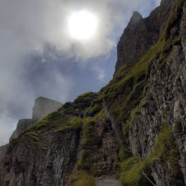 Climbing up the Hoher Ifen in the Allgäu Alps 2.230m in the west ...