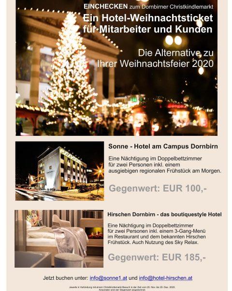 """Sonne Dornbirn und Hirschen Dornbirn bieten die Alternative zur Weihnachtsfeier 2020. """"EINCHECKEN zum ..."""