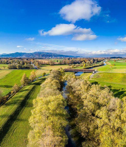 Die Dornbirner Ach mit der Senderbrücke Aerial view of the Dornbirnerach #dornbirn #dornbirnerach #vorarlberg #austria #ig_austria #365austria...