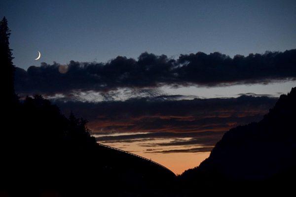 moonset Lech, Vorarlberg, Austria