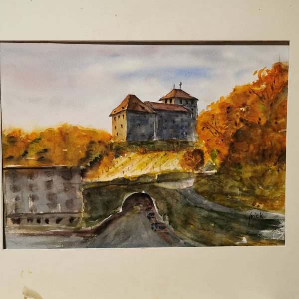 Feldkirch in autumn dress #feldkirch_austria #feldkirch_vorarlberg #schattenburg #schattenburgschnitzel #acuarela #akvarel #akvarell #aquarela #aquarelle ...